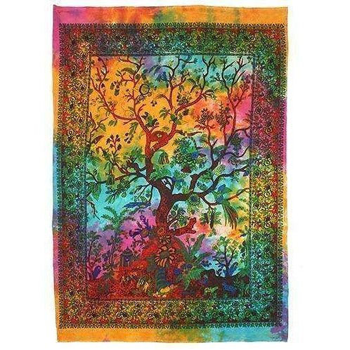 """Richly, Hand Printed, Cotton """"Tree Of Life""""  Wall Hanging"""