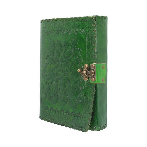 Real Leather Greenman Green Embossed Journal with Lock
