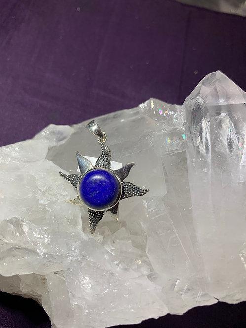 Lapis Lazuli  Sunburst sterling Silver Pendant