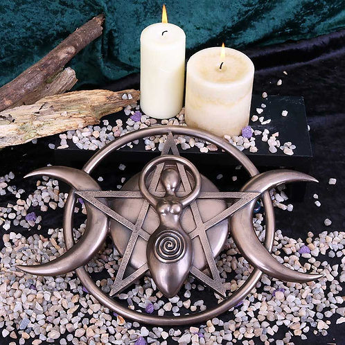 Bronzed Triple Moon Cycle Of Life Goddess Plaque 30cm