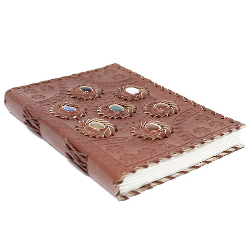 "Leather Chakra Stone Notebook (6x9"")"