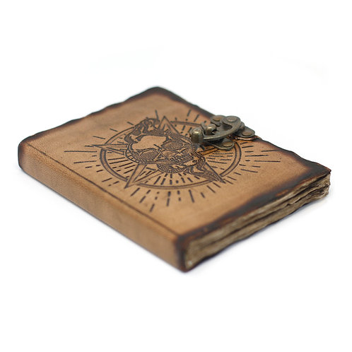 "Leather Pentagon & Skull with Burns Detail Notebook (7x5"")"