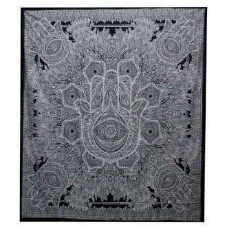 Black & White Double Cotton Bedspread/Wall Hanging - Hamsa