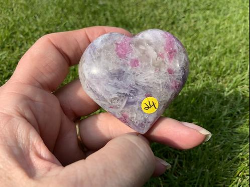 Lepidolite Craved Polished Heart