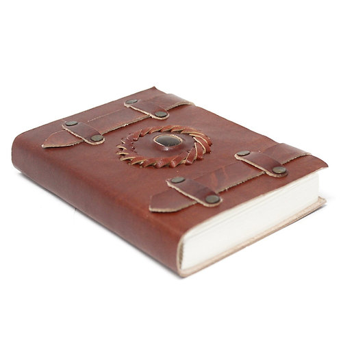 """Leather Tigereye with Belts Notebook (6x4"""")"""