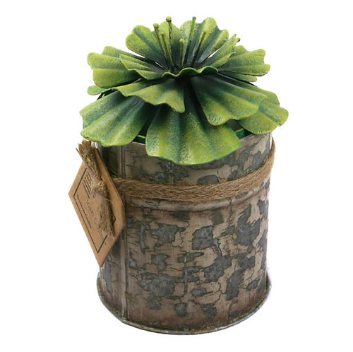 Candle in Distressed Recycled Jar Green Flower Hibiscus, Irish Coffee