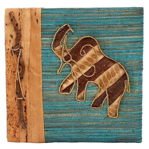 Handmade Notebook with Inlaid Elephant Design