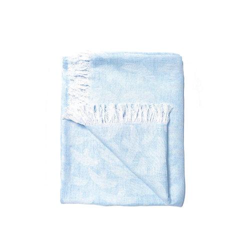 KAUNISTE - Decke mit Fransen Lintuset, hellblau vögel