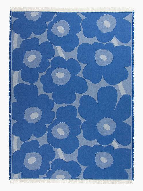 MARIMEKKO - Unikko Wolldecke 130 x 180 cm, blau / weiss