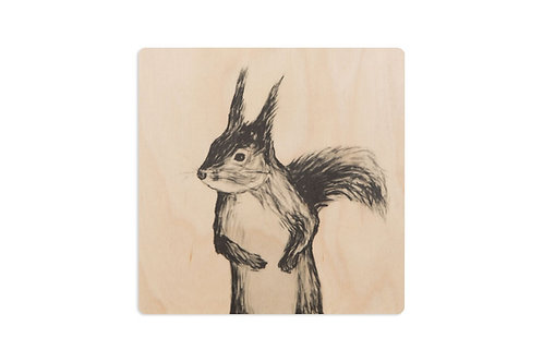 MIIKO DESIGN - Untersetzer aus Birkenholz. Eichhörnchen