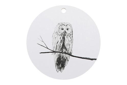 MIIKO DESIGN - Schneidebrett. Eule weiss, rund, 30 cm