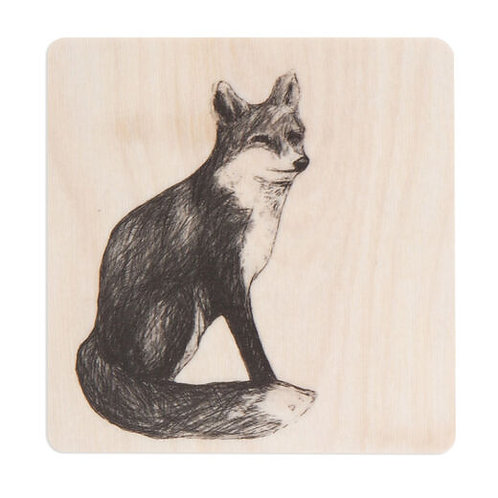 MIIKO DESIGN - Untersetzer aus Birkenholz.Fuchs