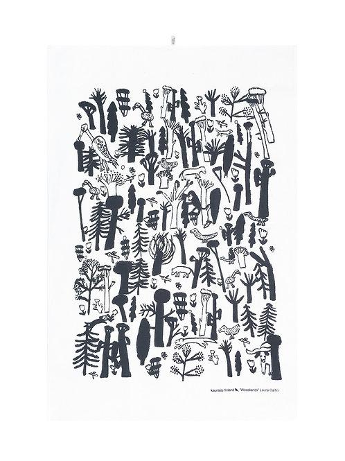 KAUNISTE - Woodlands Geschirrtuch, schwarz