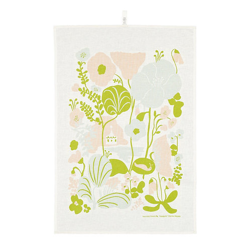 KAUNISTE - Kesäpiilo Geschirrtuch, zitrusgrün, rosa und hellgrün