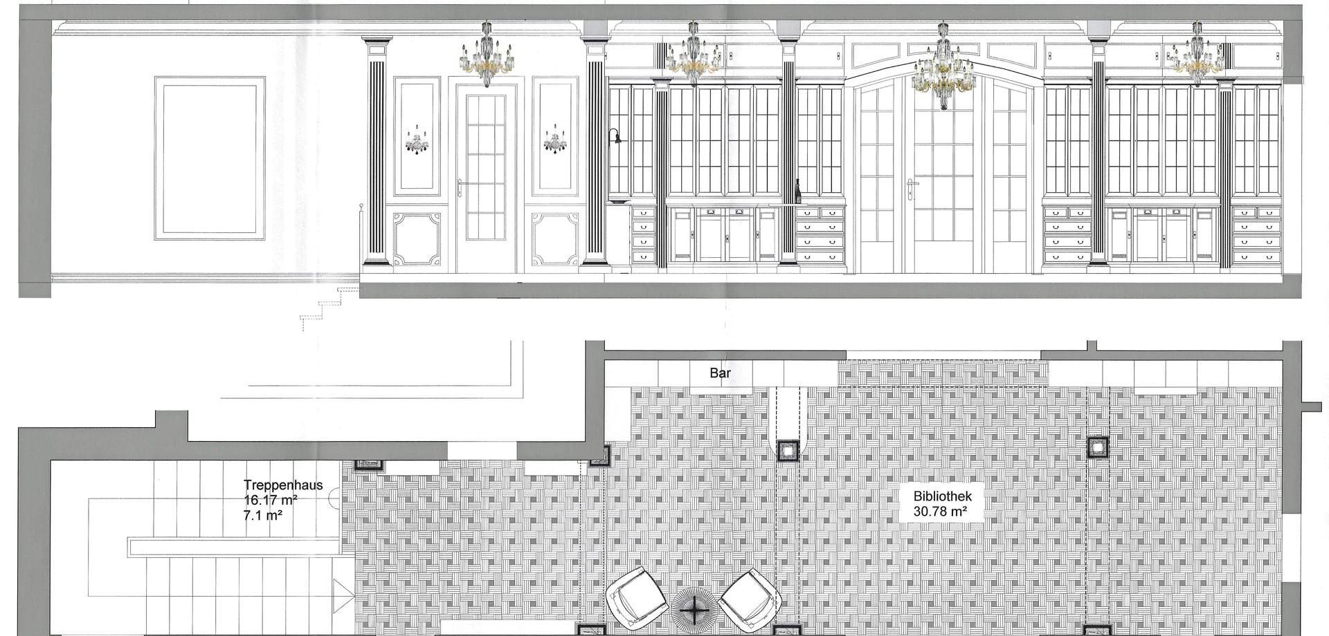 Boden- und Wandabwicklung Bibliothek