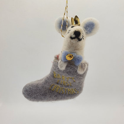 Mouse in Stocking Decoration