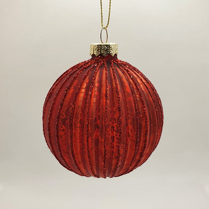 Red Ribbed Bauble