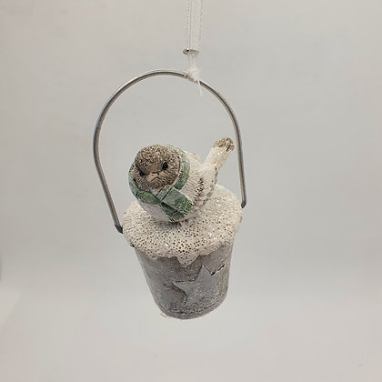 White Bird on Bucket Decoration