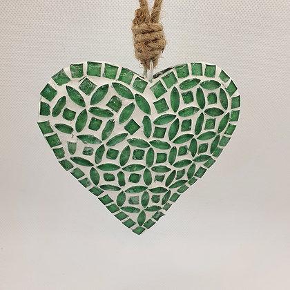 Green Glass Gem Heart Decoration