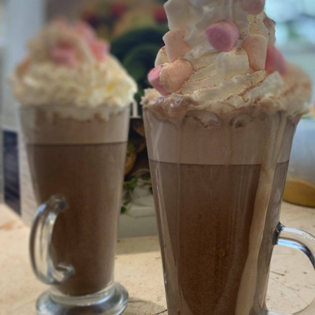 Luxury Hot Chocolates. Hot drinks available to takeaway