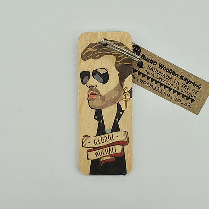 George Michael Wooden Keyring