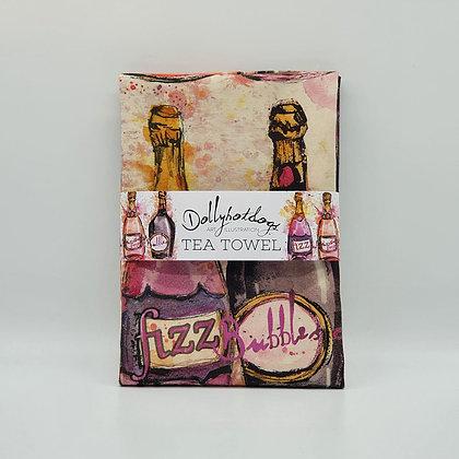 Champagne Bottle Tea Towel
