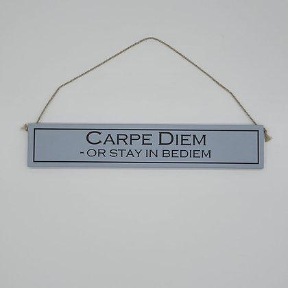 """Carpe Diem"" Comedic Wooden Sign"