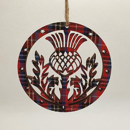 Tartan Thistle Disc Decoration