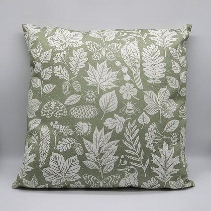 Green Garden Study Fabric Cushion