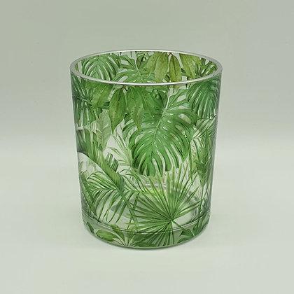 Jungle Print Glass Tealight Holder