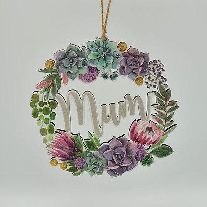 """Mum"" Floral Wreath Wooden Sign"