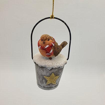 Robin on Bucket Decoration