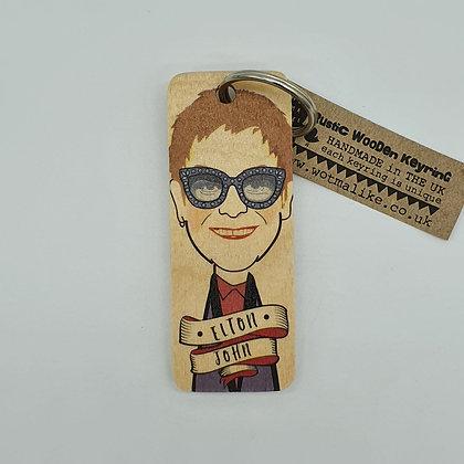 Elton John Wooden Keyring