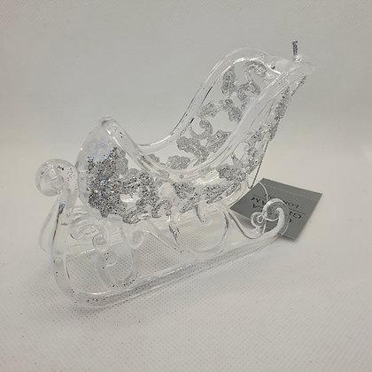 Silver Glitter Sleigh Decoration