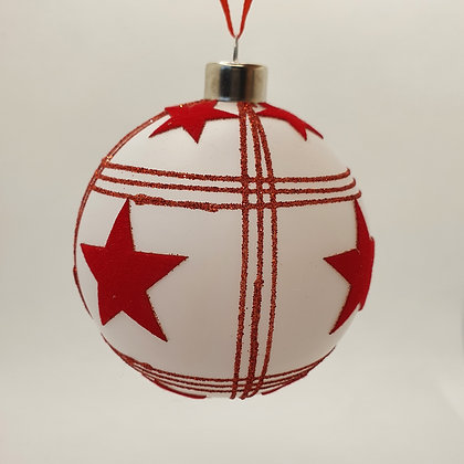 Red & White Glitter-Patterned Bauble