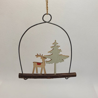 Wooden Reindeer & Tree Decoration