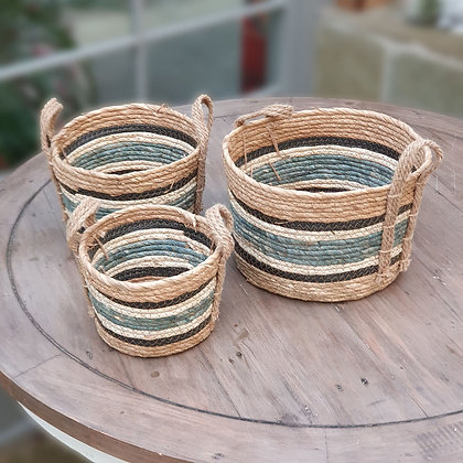 Set of 3 Blue Striped Straw and Corn Baskets with Handles