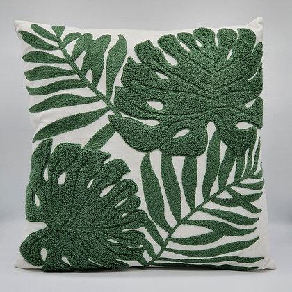 Dark Green Crewel Work Leaves Cushion