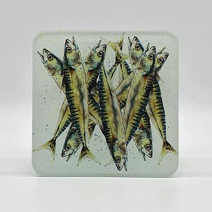 Jumble of Sardines Glass Coaster