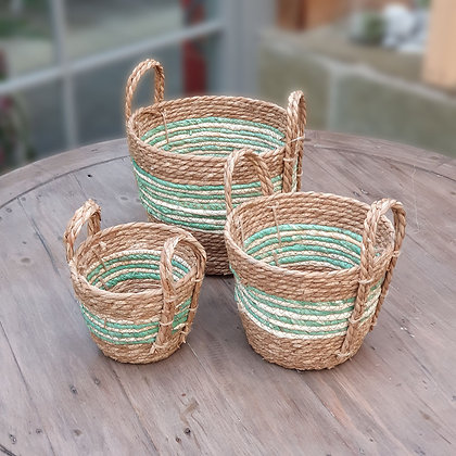 Set of 3 Green Striped Straw and Corn Baskets with Handles