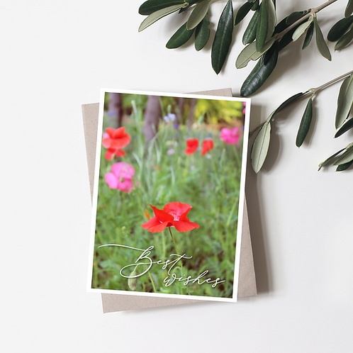 Best Wishes Card - Wildflower Greeting Card