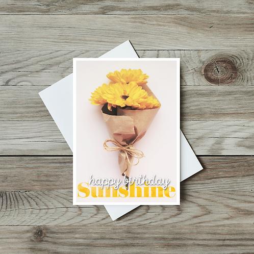 Happy Birthday Sunshine Card - Paper Birch Art