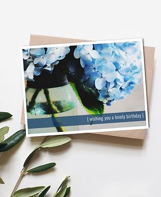 Wishing You a Lovely Birthday - Blue Hydrangea Greeting Card
