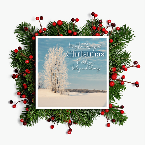 Christmas Blessings Card - Paper Birch Art