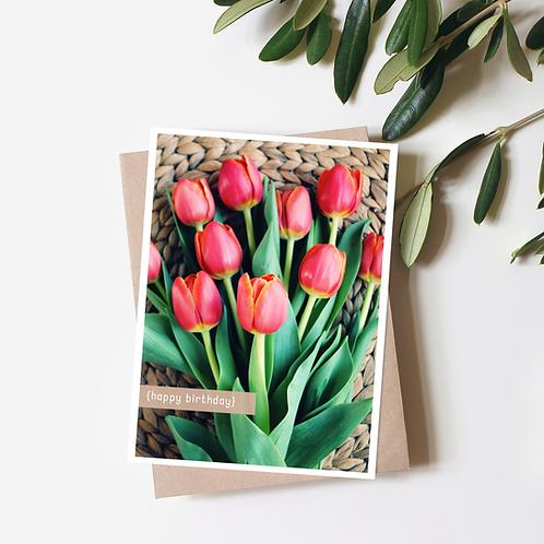 Tulip Bouquet Birthday Card - Kraft Envelope Greeting Card