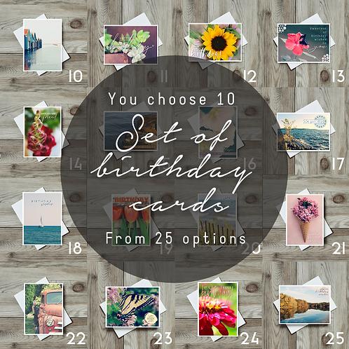 Set of 10 Birthday Greeting Cards - Paper Birch Art