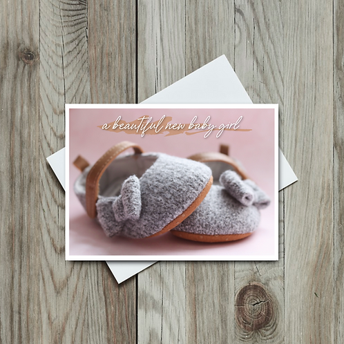 Beautiful New Baby Girl Card - Paper Birch Art