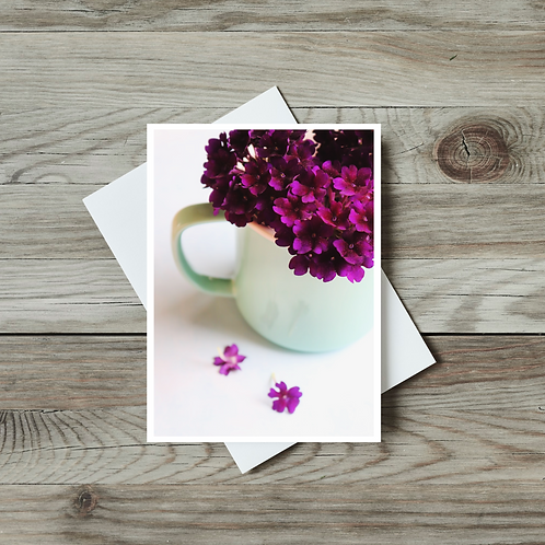 Blank Floral Greeting Card - Verbena in Mug