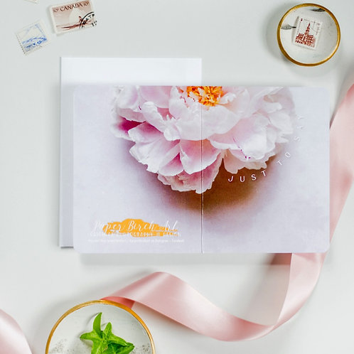 Just to Say Peony Continuous Photograph Card - Paper Birch Art