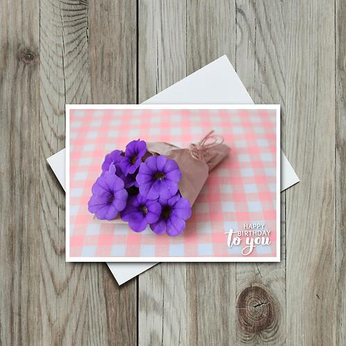 Pink Gingham Birthday Card - Paper Birch Art